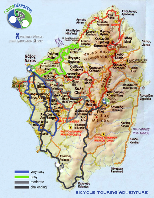 naxos map bike tours